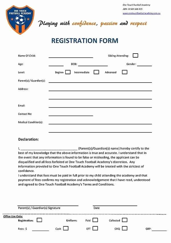 School Registration forms Template Lovely Academy Registration form Template 2