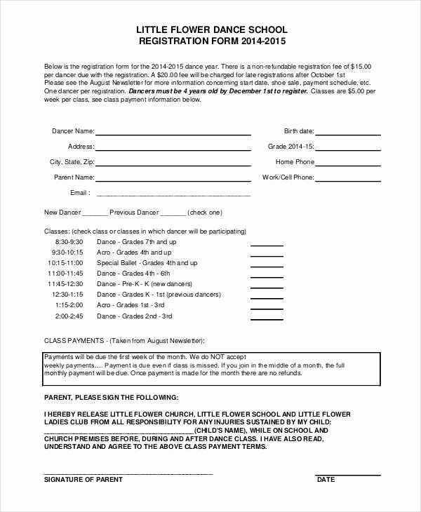 School Registration forms Template New 25 Of Dance Class Template