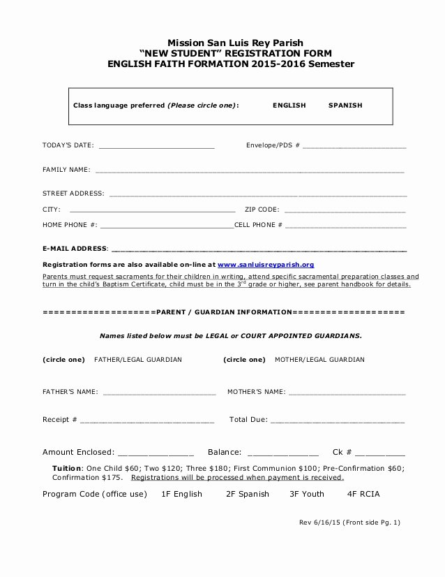 School Registration forms Template New New Student Registration for Religious Education 2015 2016