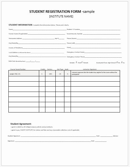School Registration forms Template New Student Registration forms for Ms Word