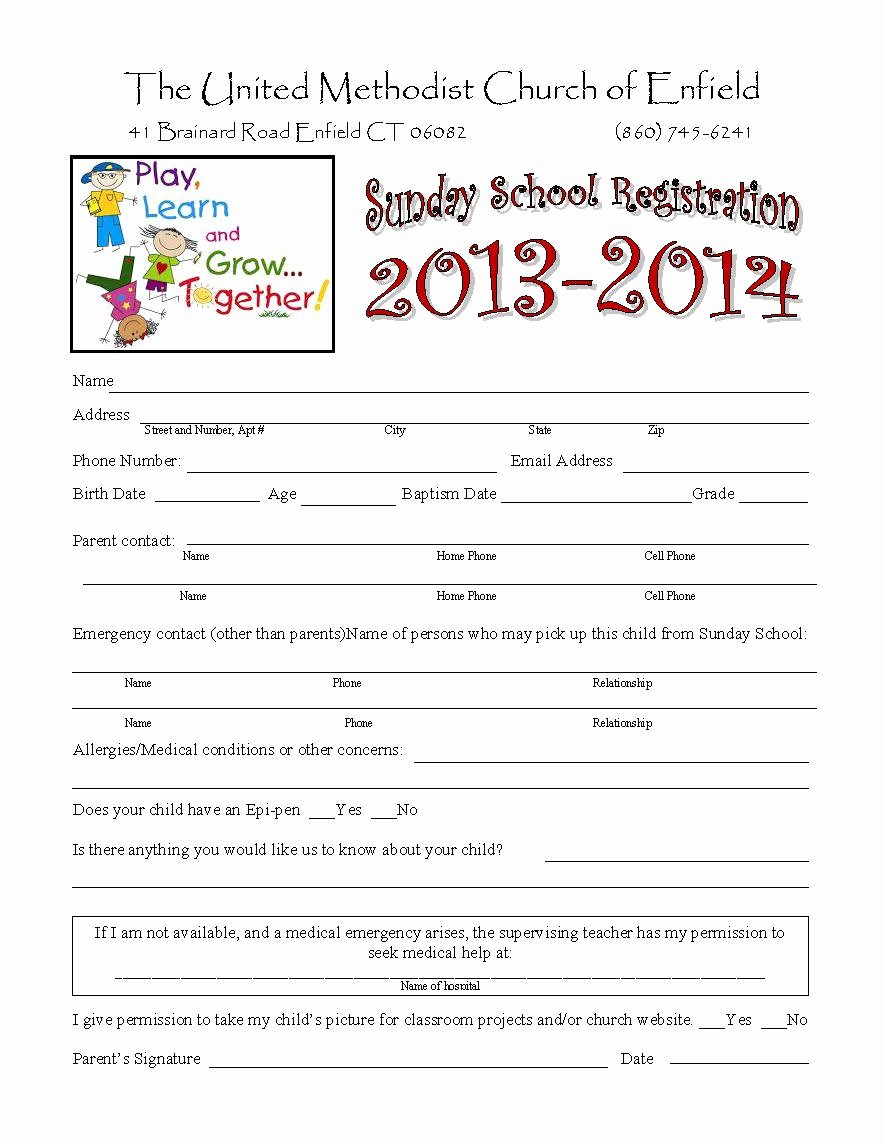 School Registration forms Template Unique Church Nursery forms thenurseries