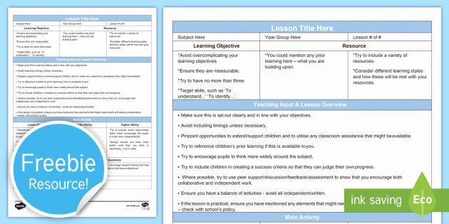 Secondary Lesson Plan Template Best Of Guided Secondary Lesson Plan Template Editable Proforma