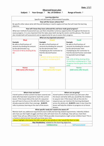Secondary Lesson Plan Template Fresh Observed Lesson Plan Template by Jakemp28