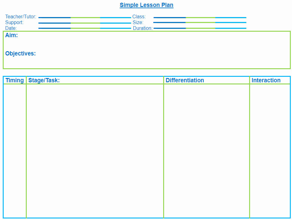 Secondary Lesson Plan Template Unique Very Simple Blank Lesson Plan Template for Secondary