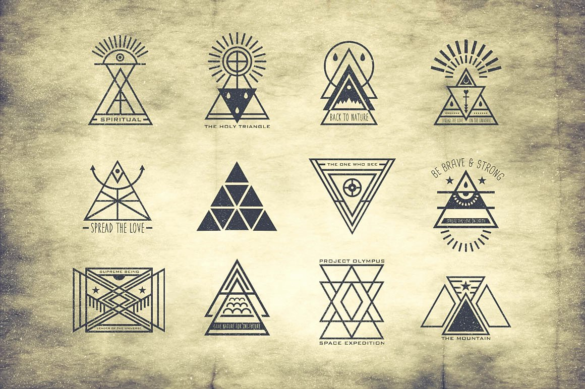 Secret society Invitation Template Elegant Hipster Triangle Badges Logo Templates On Creative Market