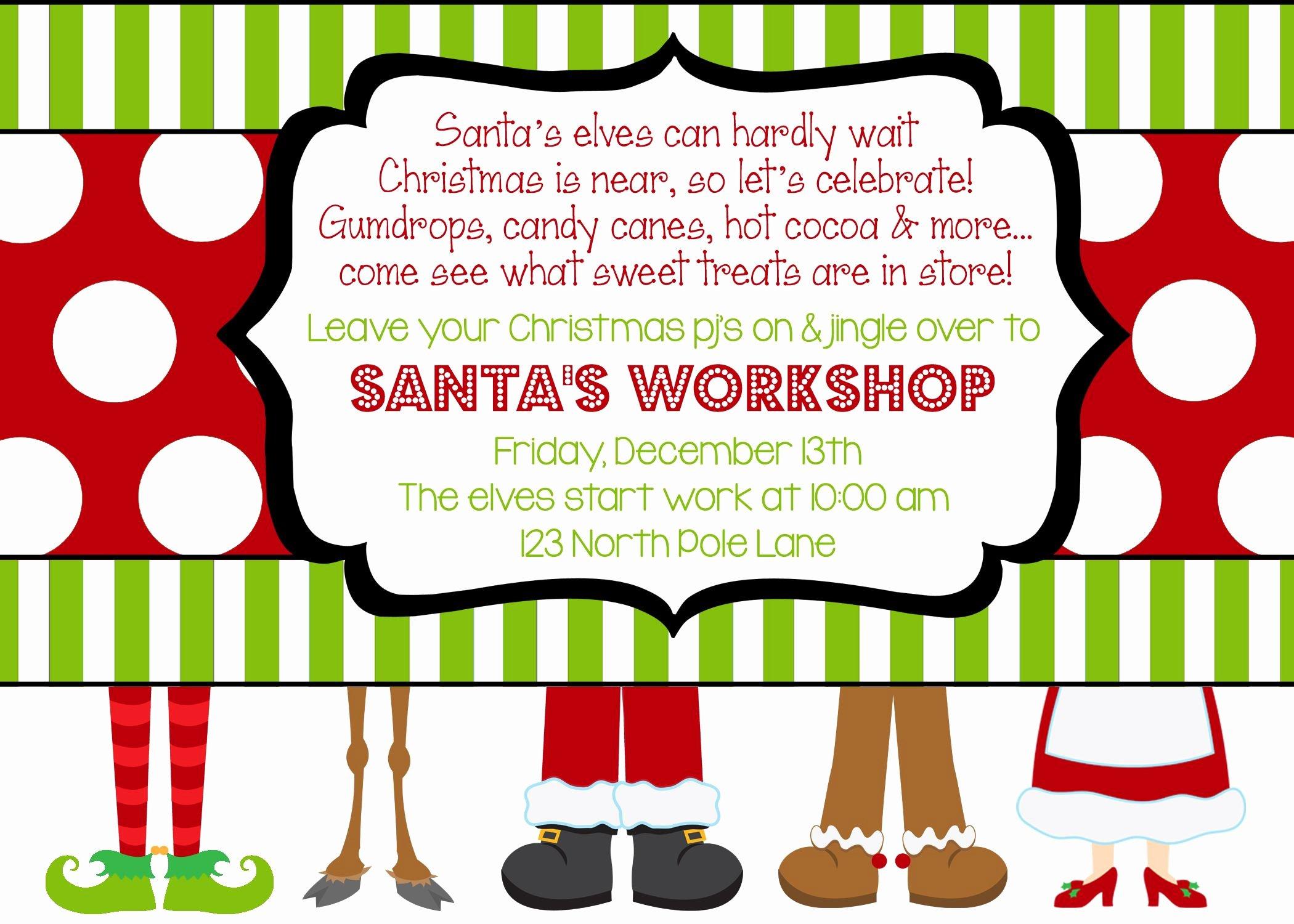 Secret society Invitation Template Lovely Santa S Workshop Party Invitation