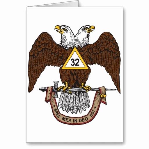 Secret society Invitation Template Unique 32nd Degree Scottish Rite Brown Eagle Greeting Card