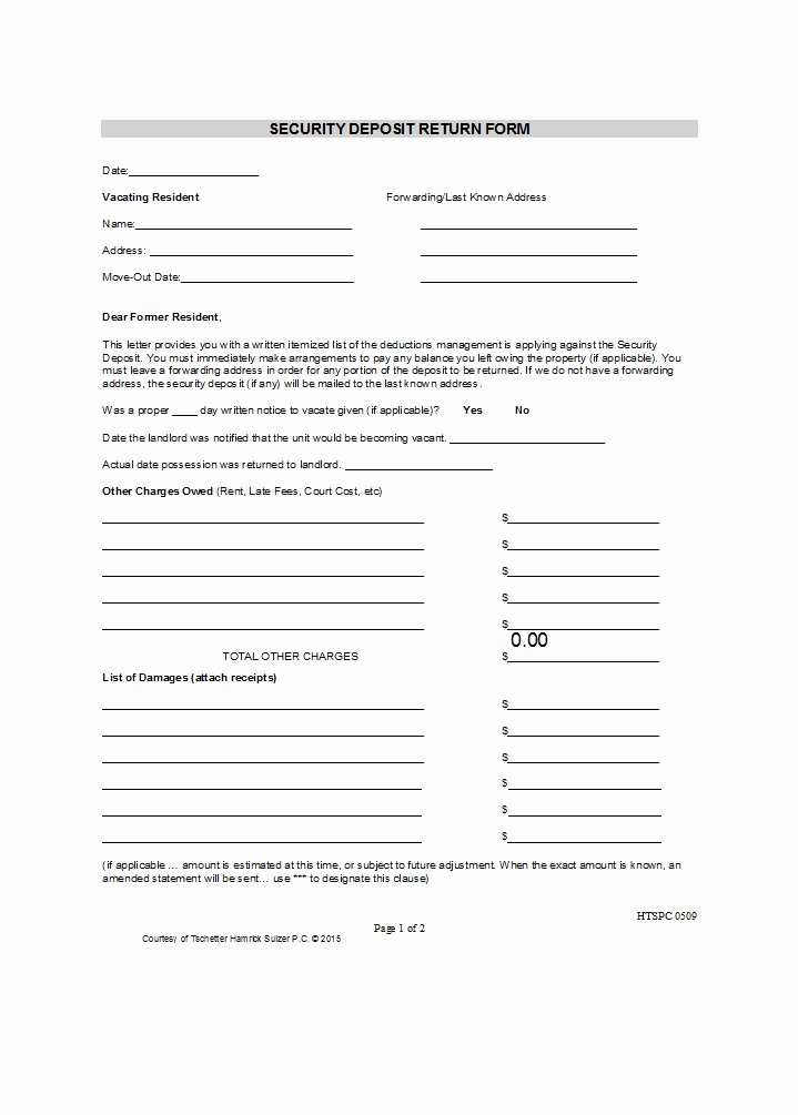Security Deposit Return form Template Awesome 50 Effective Security Deposit Return Letters [ms Word]