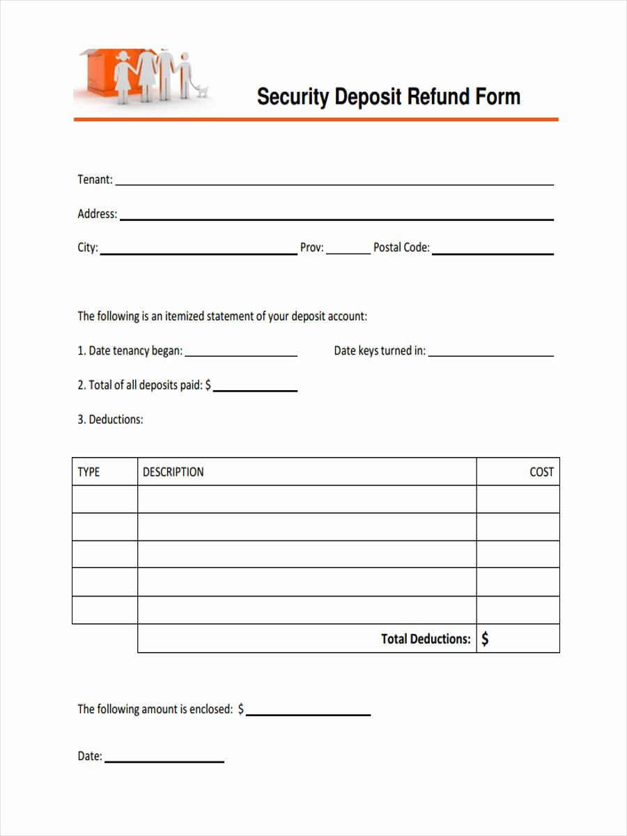 Security Deposit Return form Template Beautiful Free 31 Deposit form Templates