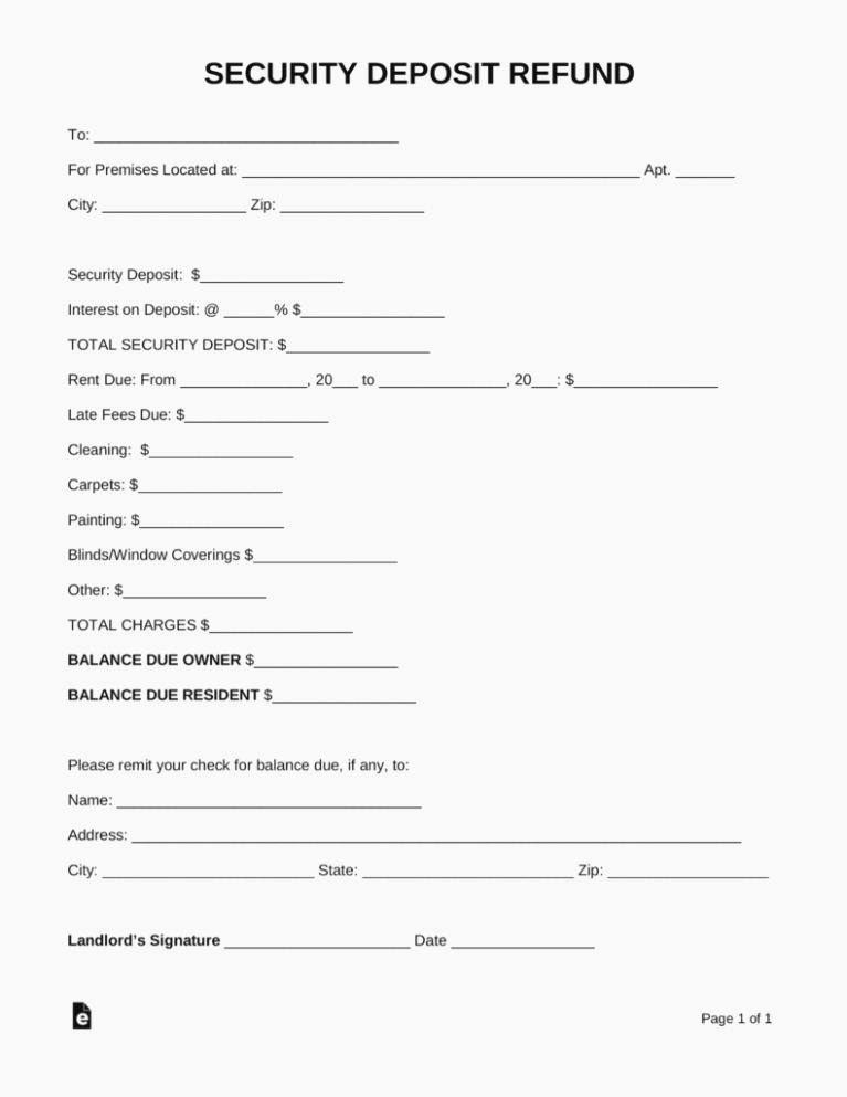 Security Deposit Return form Template Best Of the History Sample