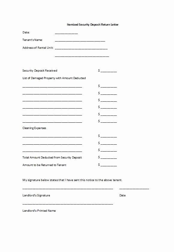 Security Deposit Return form Template Elegant 50 Effective Security Deposit Return Letters [ms Word]