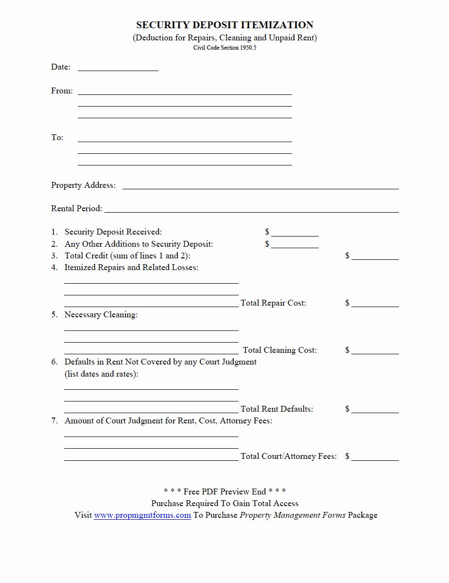 Security Deposit Return form Template Elegant Property Management forms