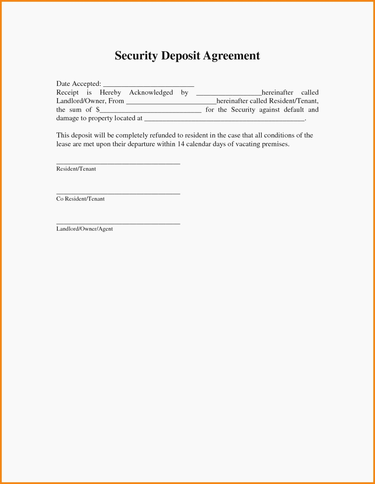 Security Deposit Return form Template Fresh the History Sample