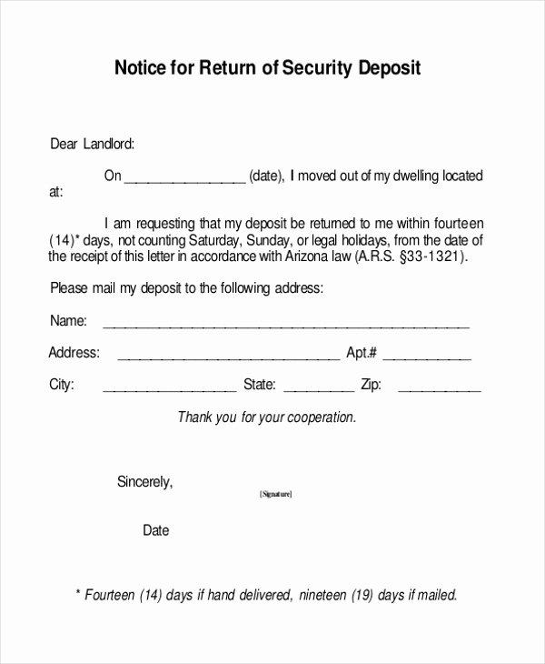 Security Deposit Return form Template Luxury Free 8 Sample Security Deposit Receipt forms In Pdf