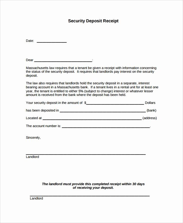Security Deposit Return form Template New Sample Security Deposit Receipt 8 Free Documents