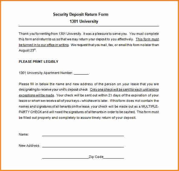 Security Deposit Return form Template Unique 7 Security Deposit Receipt Template