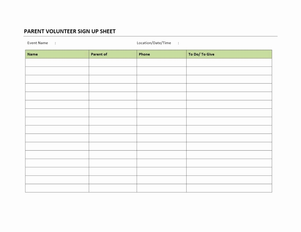 Sign Up form Template Word Unique Parent Volunteer Sign Up Sheet
