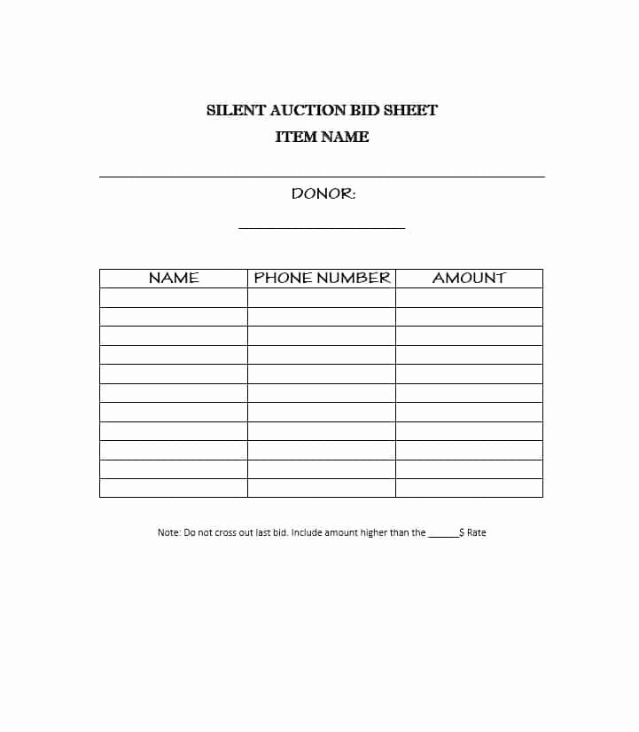 Silent Auction Donation form Template Beautiful 21 Silent Auction Bid Sheets Free Download [word Excel] 2019