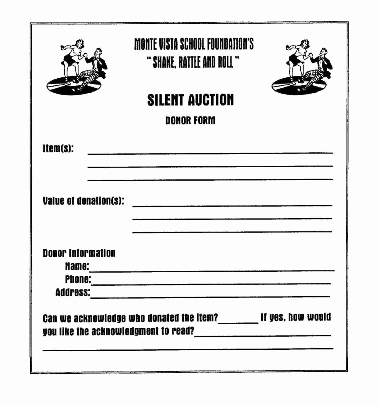 Silent Auction Donation form Template Beautiful Silent Auction Donation form Template Sampletemplatess