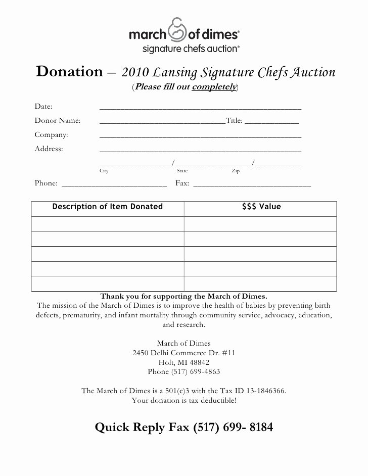 Silent Auction Donation form Template Elegant Chef S Auction Donation form