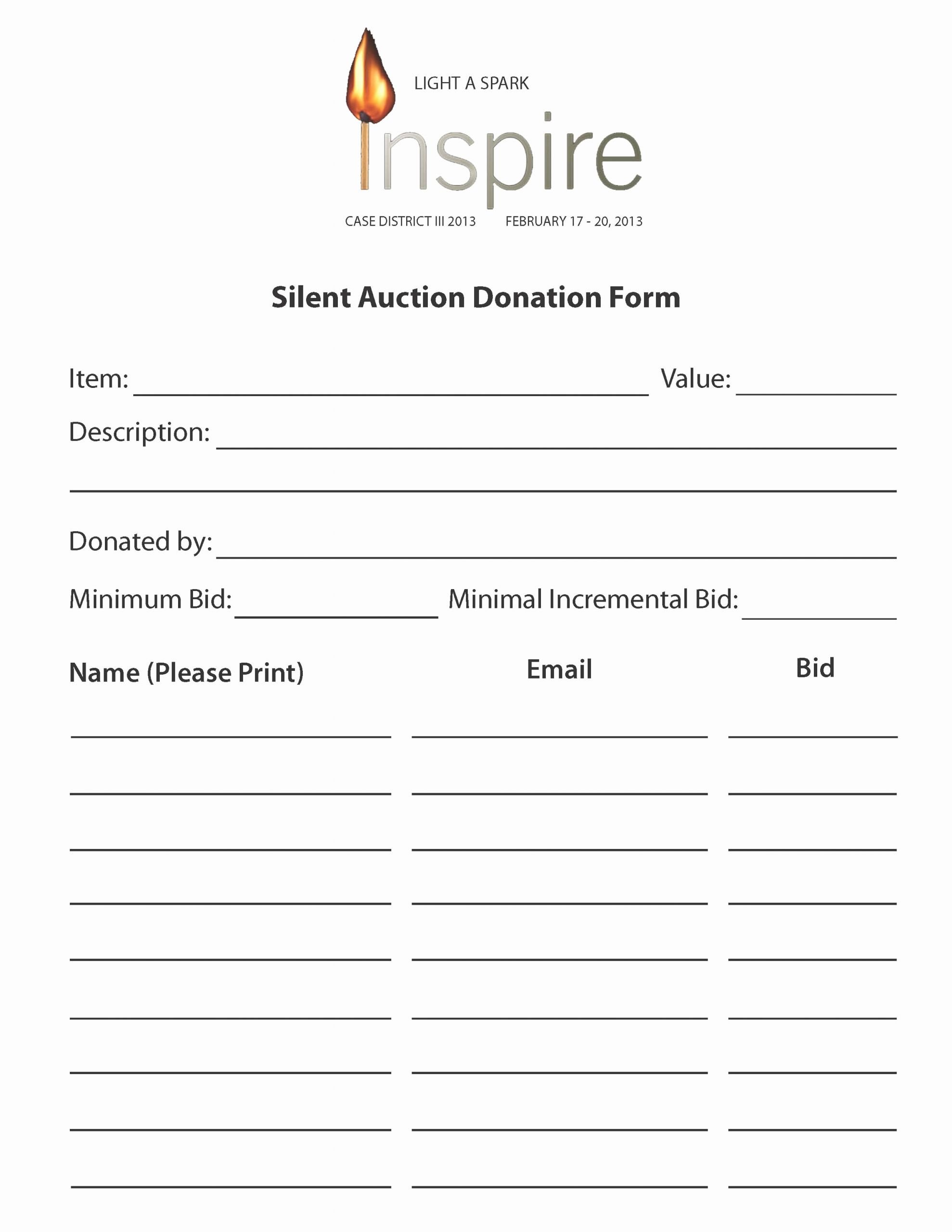 Silent Auction Donation form Template Lovely Case Silent Auction Donation forms