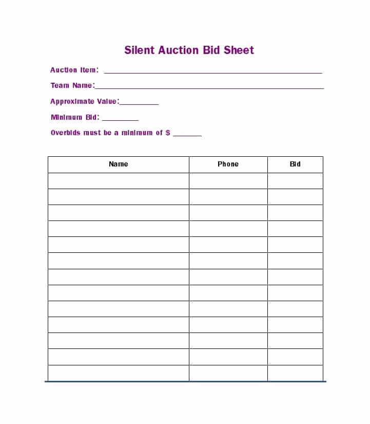 Silent Auction Donation form Template New Silent Auction Bid Sheet – Free Download