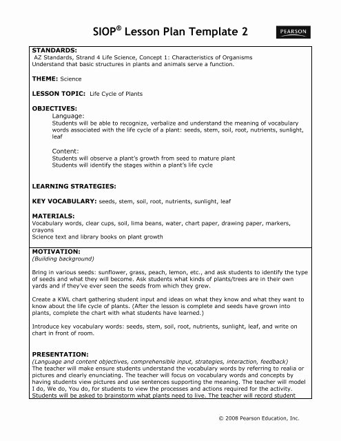 Siop Lesson Plan Template 2 Beautiful Siop Lesson Plan Template 2