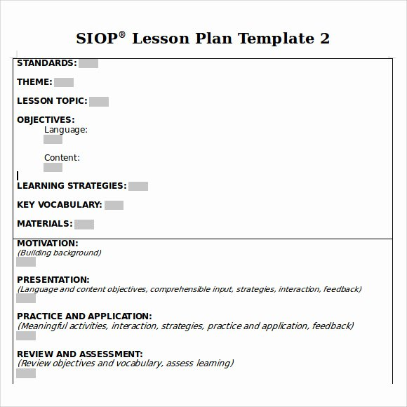 Siop Lesson Plan Template 2 Best Of Sample Siop Lesson Plan 9 Documents In Pdf Word