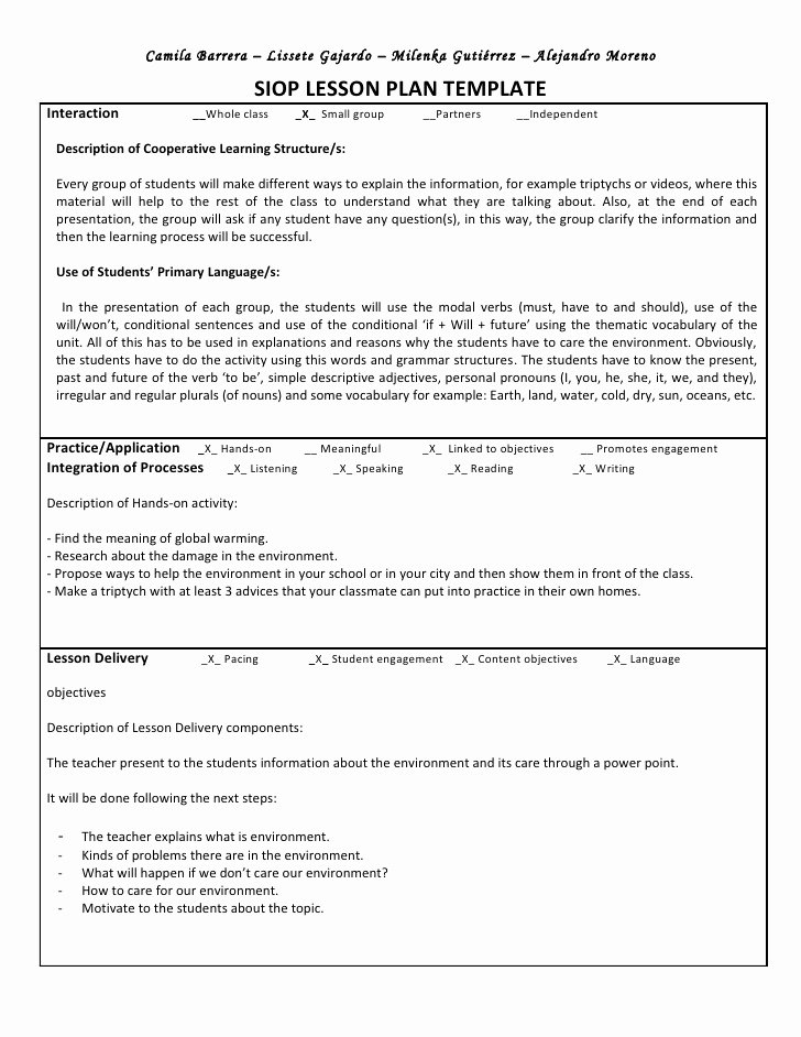 Siop Lesson Plan Template 2 Elegant Siop Unit Lesson Plan Template Sei Model