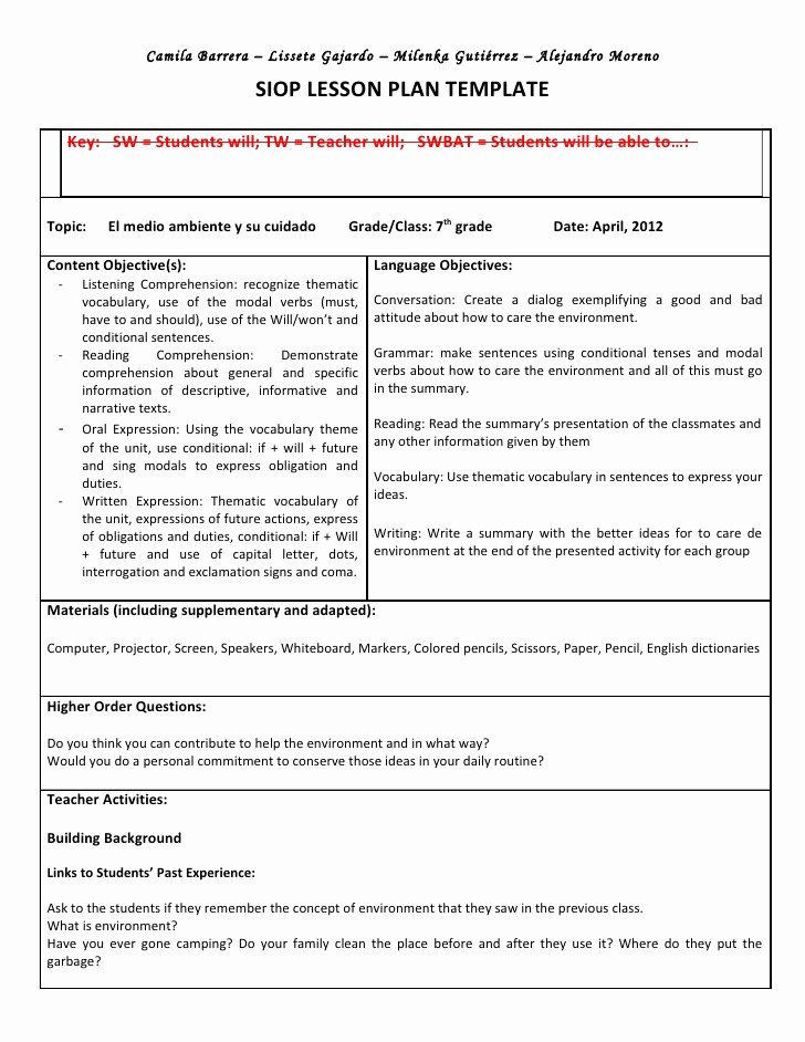 Siop Lesson Plan Template 2 Inspirational Siop Unit Lesson Plan Template Sei Model