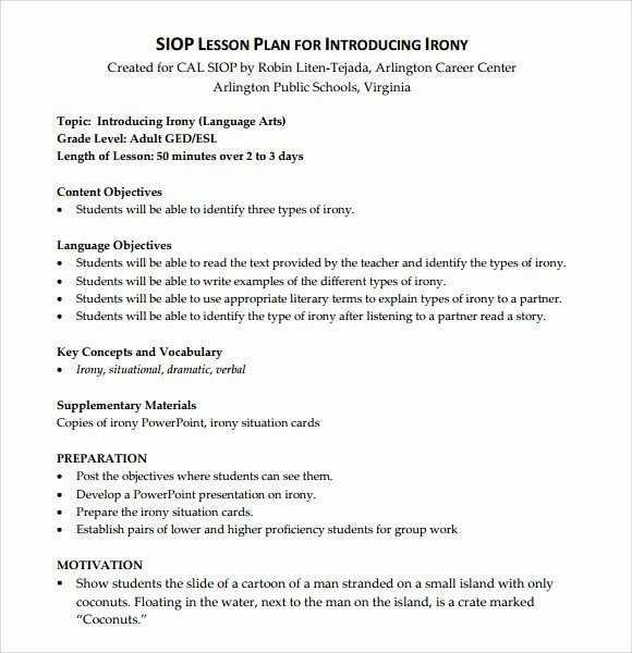 Siop Lesson Plan Template 2 Unique Sample Siop Lesson Plan 9 Documents In Pdf Word