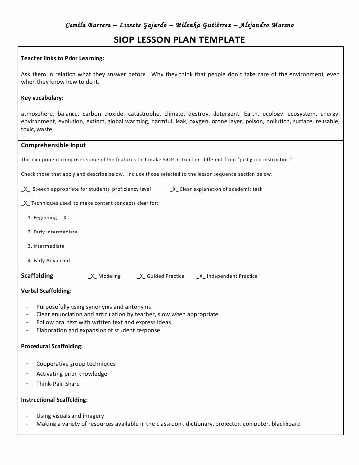Siop Lesson Plan Template 2 Unique Siop Unit Lesson Plan Template Sei Model