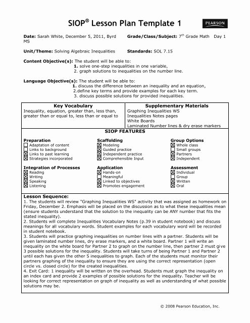 Siop Lesson Plan Template 3 Beautiful Siop Lesson Plan Template 1 Act Esl