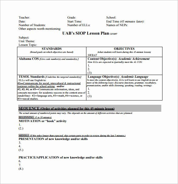 Siop Lesson Plan Template 3 Elegant 10 Siop Lesson Plan Templates Doc Excel Pdf