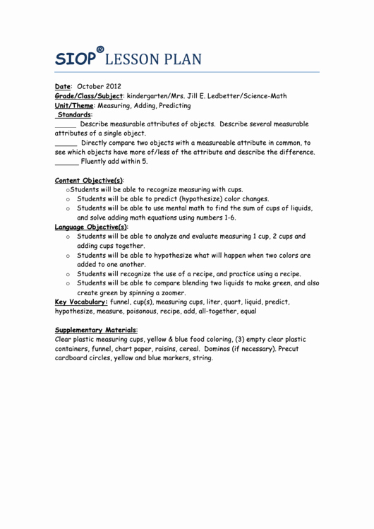 Siop Lesson Plan Template 3 Elegant Sample Siop Lesson Plan Measuring Adding Predicting