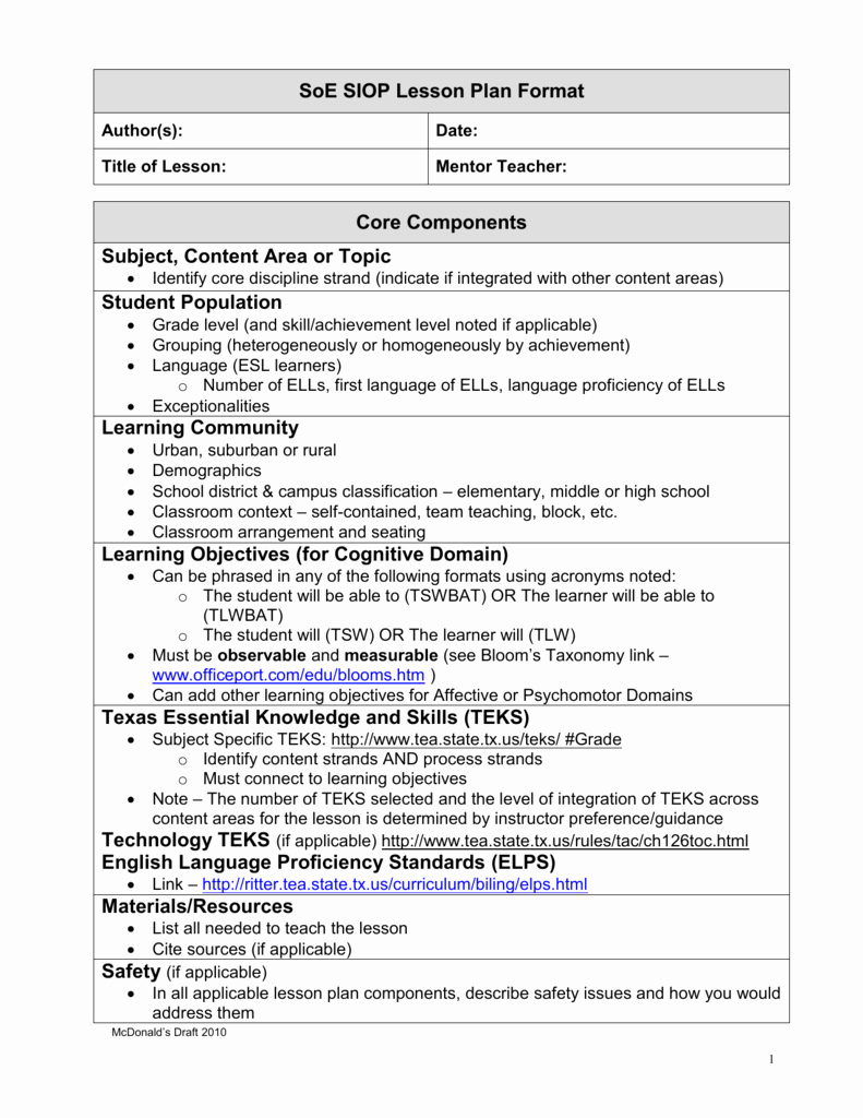 Siop Lesson Plan Template 3 Inspirational Siop Lesson Plan Guidelines