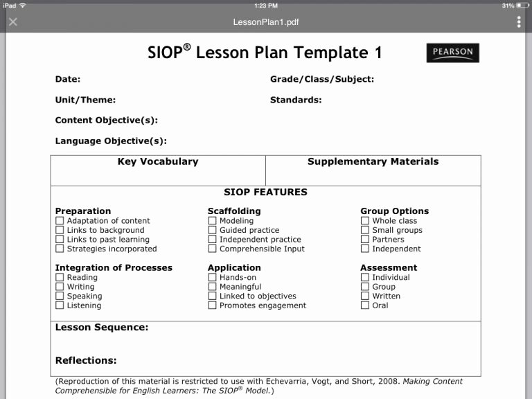 Siop Lesson Plan Template 3 Inspirational Siop Lesson Plan