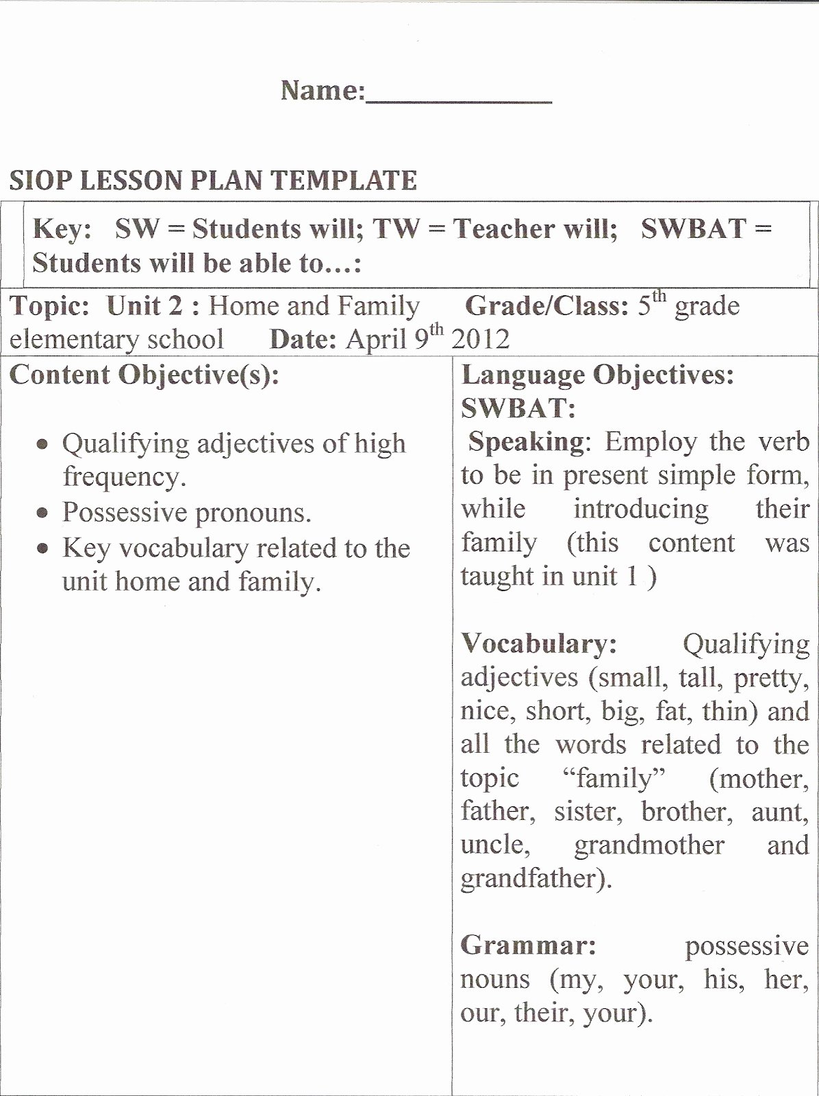 Siop Lesson Plan Template 3 Lovely Learning About Methodology Hands On Activities