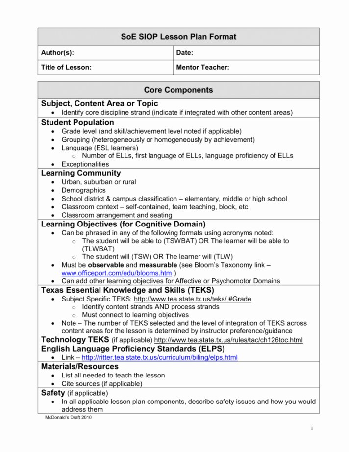 Siop Lesson Plan Template Awesome Siop Model Lesson Plan Template
