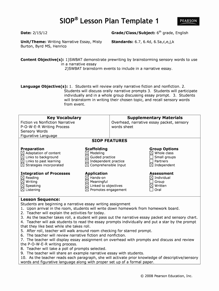 Siop Lesson Plan Template Elegant 2012 2019 form Siop Lesson Plan Template 1 Fill Line