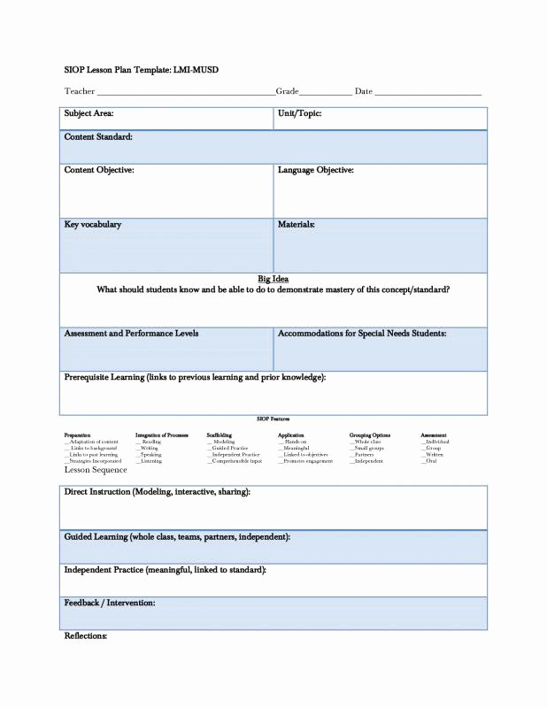Siop Lesson Plan Template Elegant Siop Lesson Plan