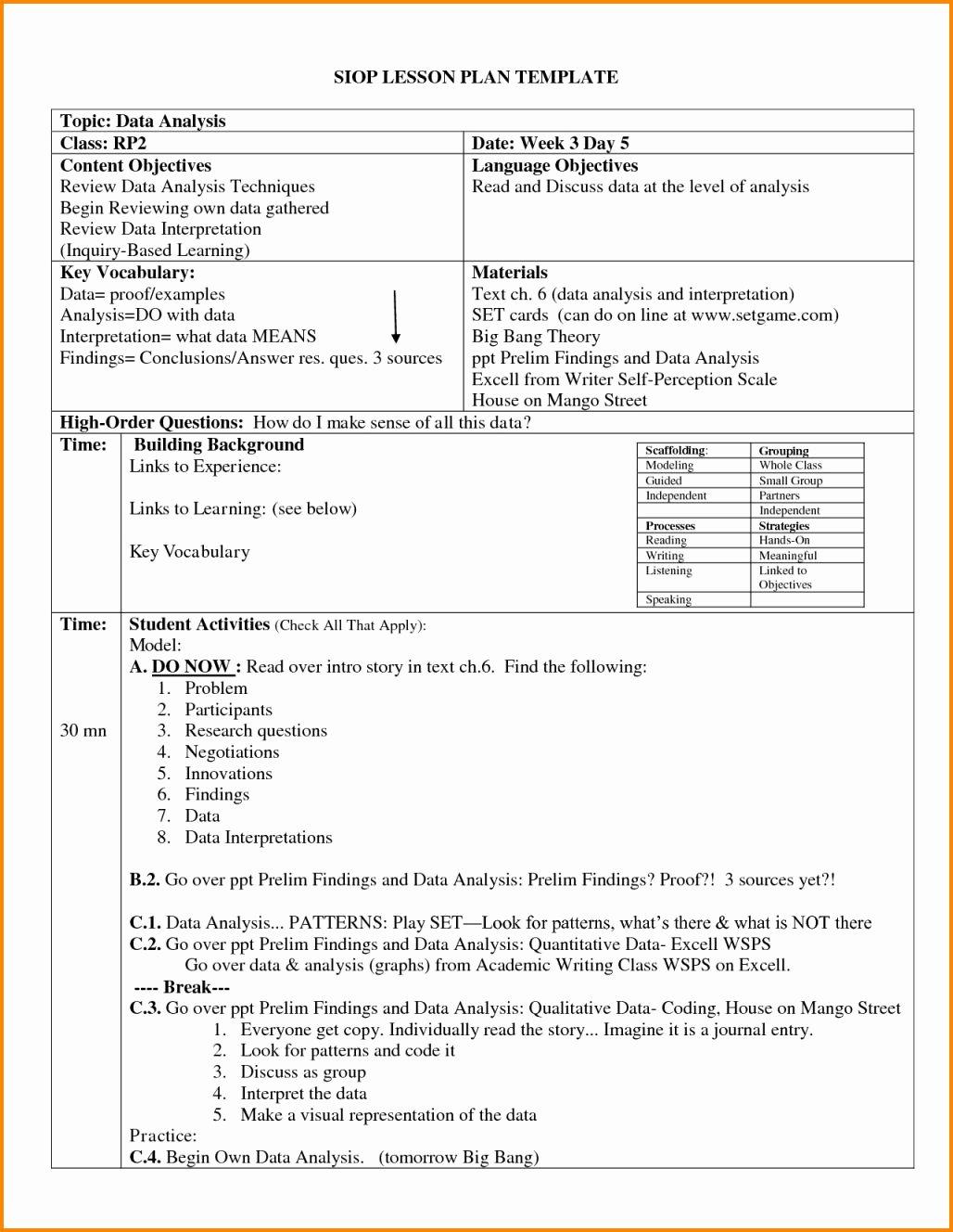 Siop Lesson Plan Template Fresh 14 Swbat Unterrichtsplanvorlage