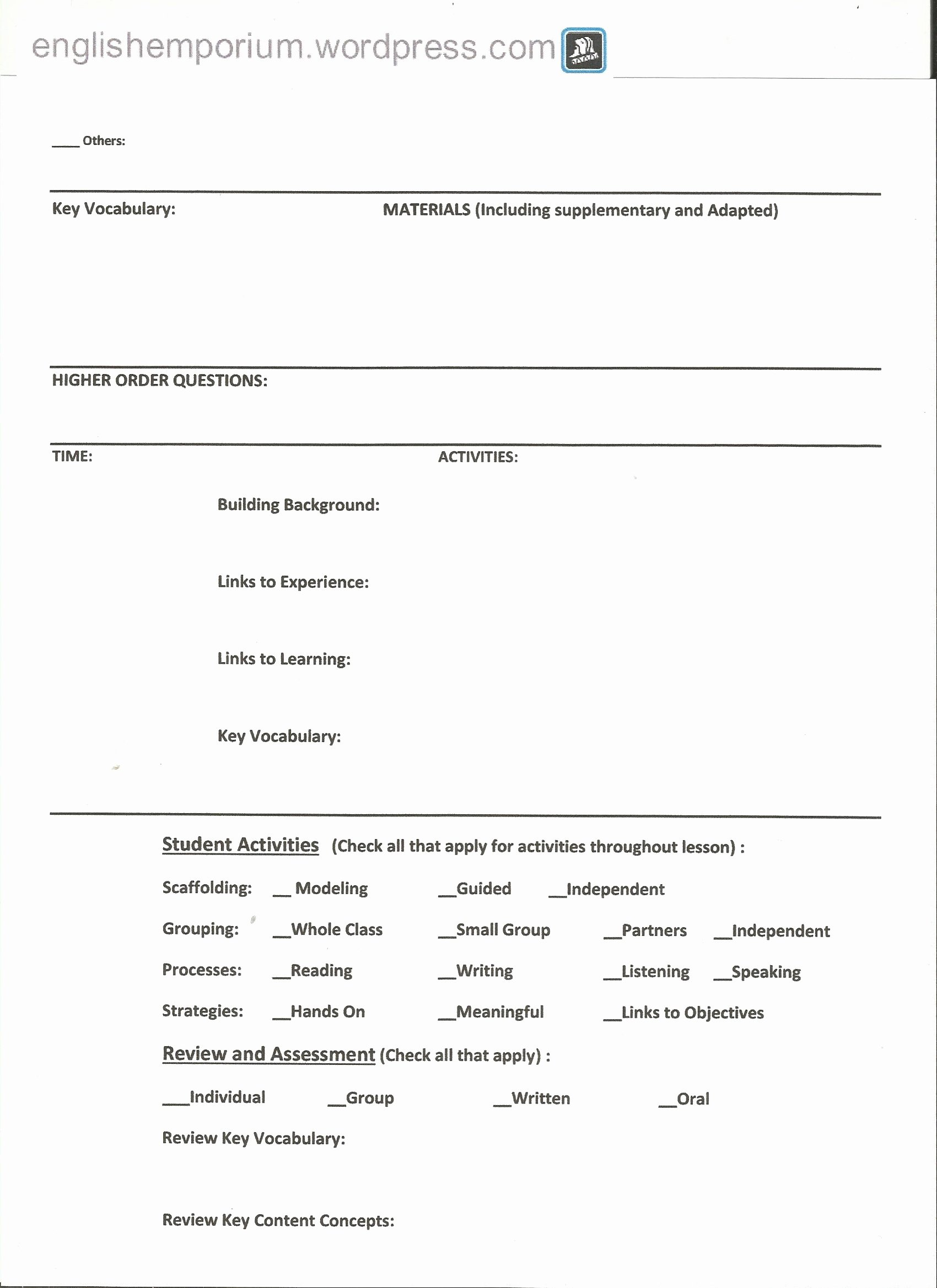 Siop Lesson Plan Template Fresh Siop Lesson Plan Checklist for 7th Grade Geography Page2