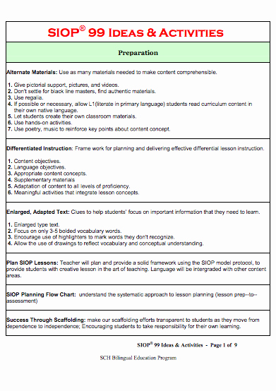 Siop Lesson Plan Template Inspirational Here S A Set Of 99 Ideas and Activities for Use In the
