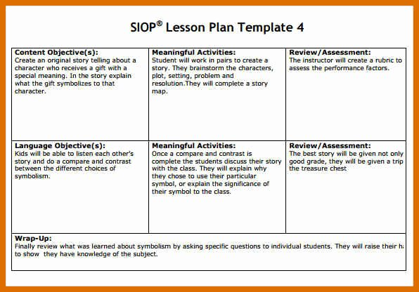 Siop Lesson Plan Template Unique 3 4 Siop Lesson Plan Examples