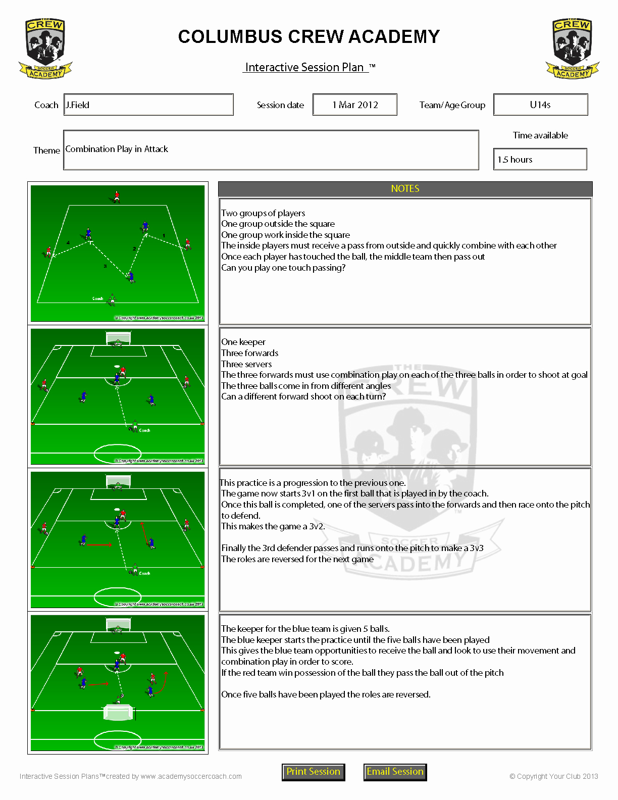 Soccer Session Plan Template Lovely Customisation Services Academy soccer Coach
