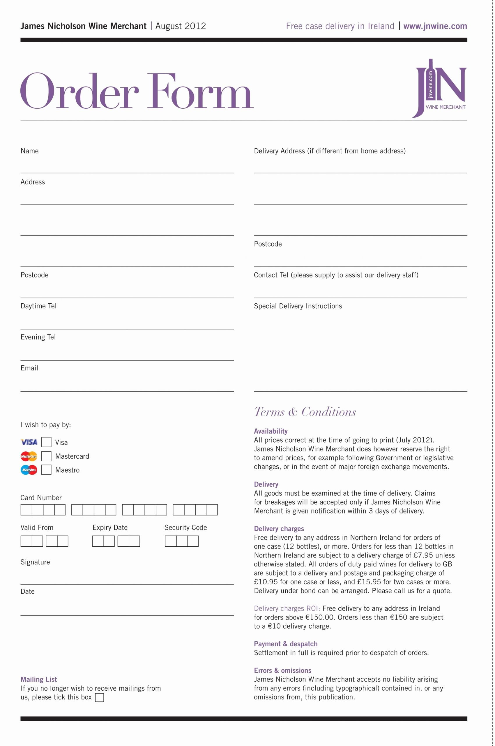 Special order form Template Best Of Really Like This order form