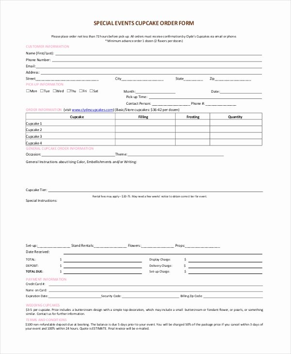 Special order form Template Fresh Free 10 Sample Cupcake order forms