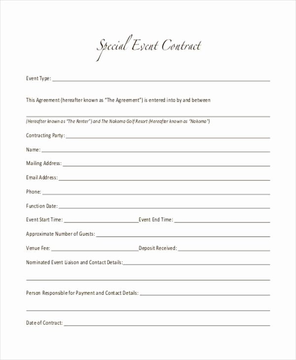 Special order form Template Lovely Free 7 event Contract form Samples In Sample Example format
