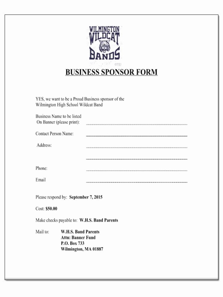 Sponsorship form Template Word Awesome Wilmington High Marching Band Seeks Individual & Business